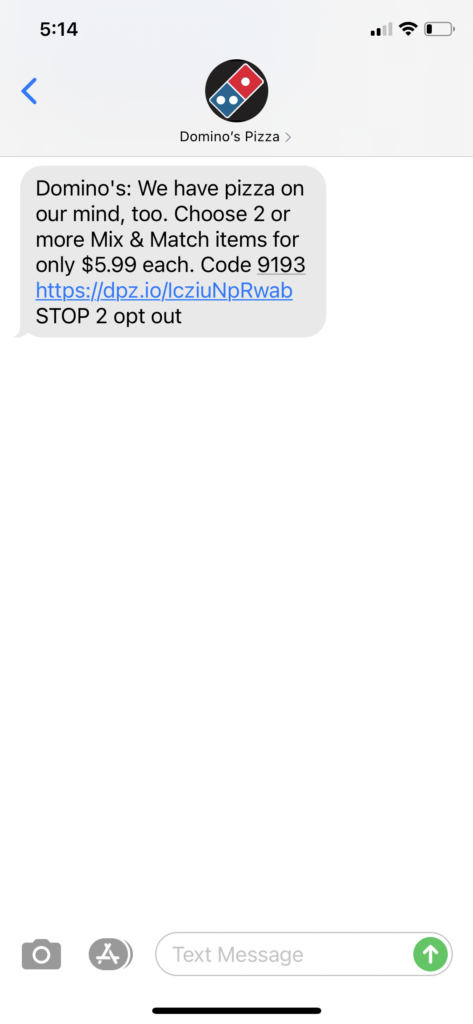 Domino's Pizza Text Message Marketing Example - 10.23.2020