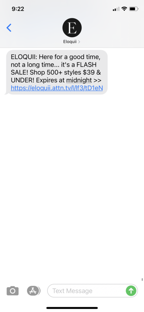 Eloquii Text Message Marketing Example - 10.25.2020