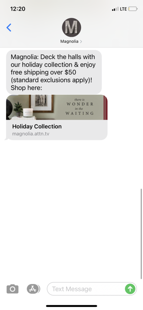 Magnolia Text Message Marketing Example - 10.18.2020