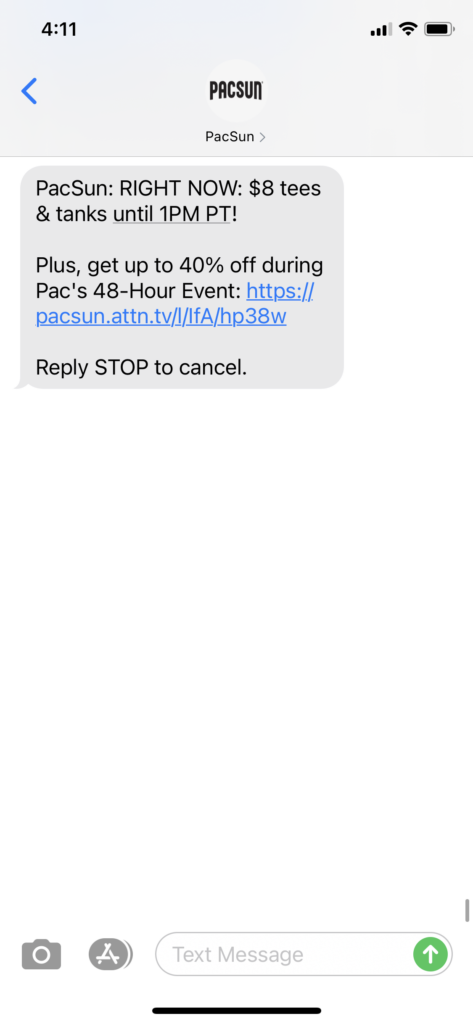 PacSun Text Message Marketing Example 2- 10.13.2020