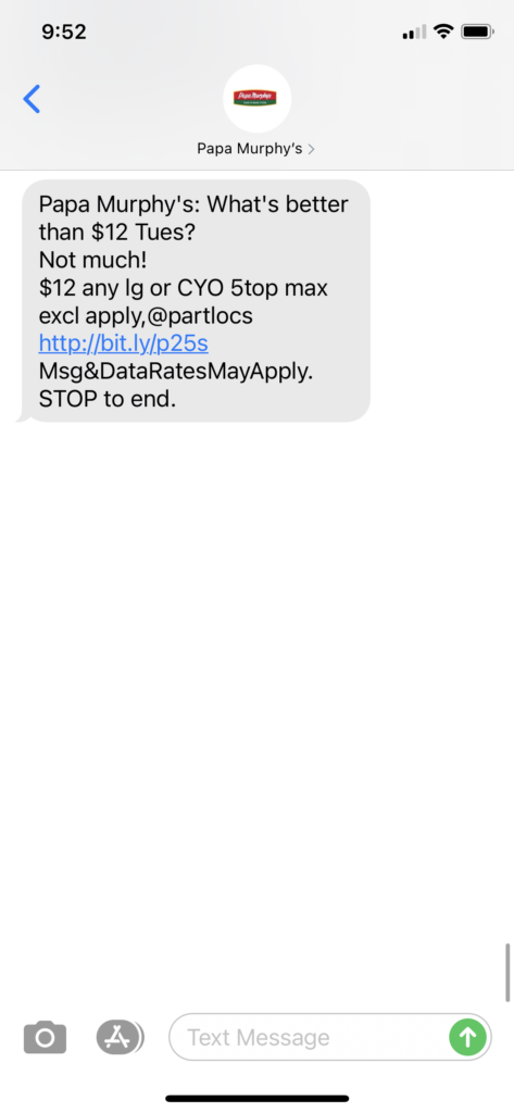 Papa Murphy's Text Message Marketing Example - 10.19.2020