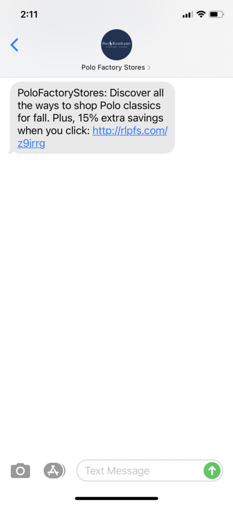 Polo Factory Store Text Message Marketing Example - 10.14.2020