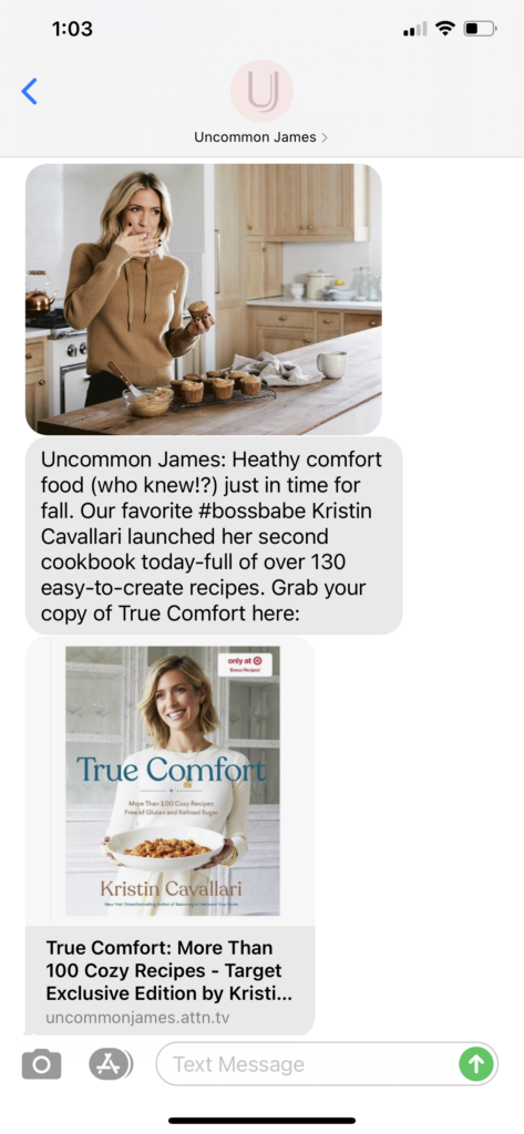 Uncommon James Text Message Marketing Example - 09.29.2020