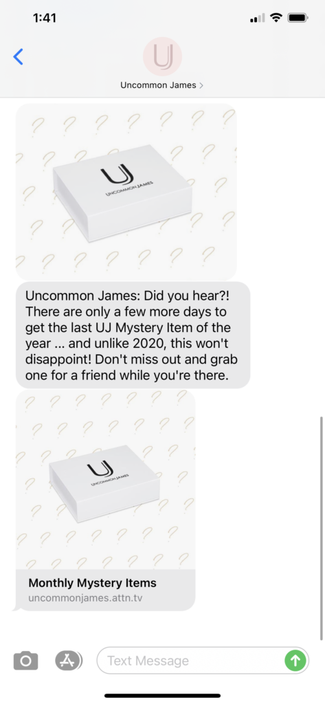 Uncommon James Text Message Marketing Example - 10.19.2020