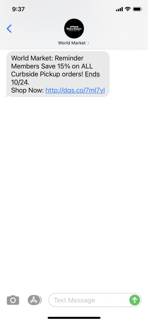 World Market Text Message Marketing Example - 10.19.2020