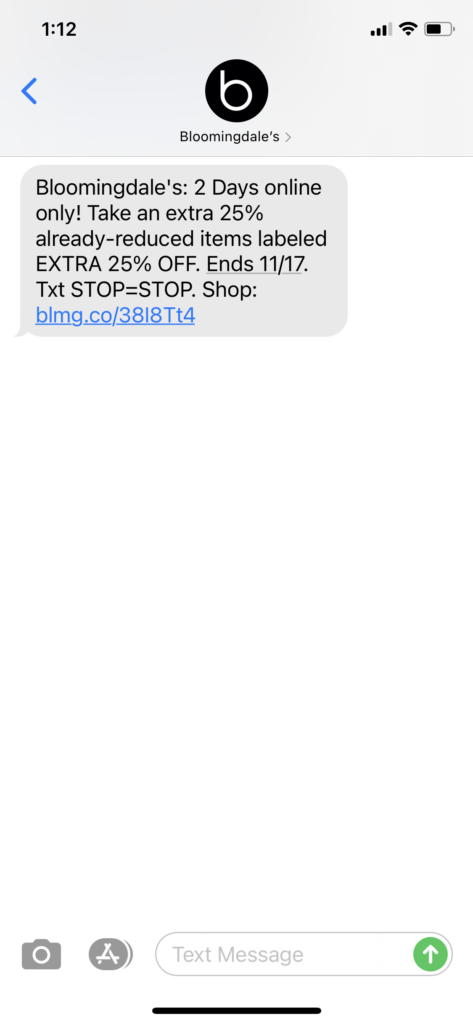 Bloomingdales Text Message Marketing Example - 11.16.2020