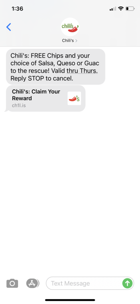 Chili's Text Message Marketing Example - 11.09.2020