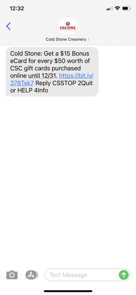 Cold Stone Text Message Marketing Example - 11.27.2020.PNG