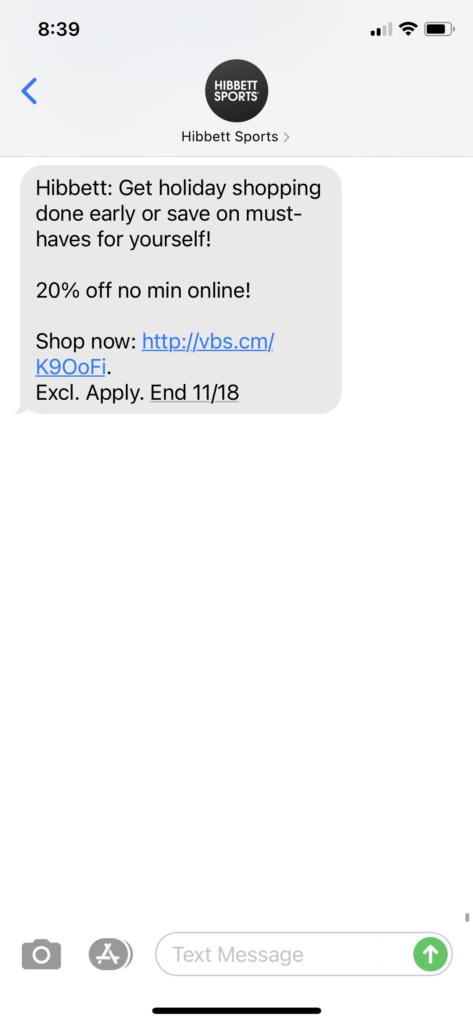 Hibbet Sports Text Message Marketing Example - 11.15.2020