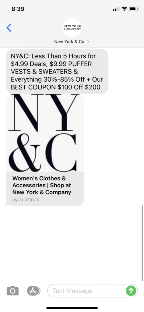 New York and Co Text Message Marketing Example - 11.15.2020