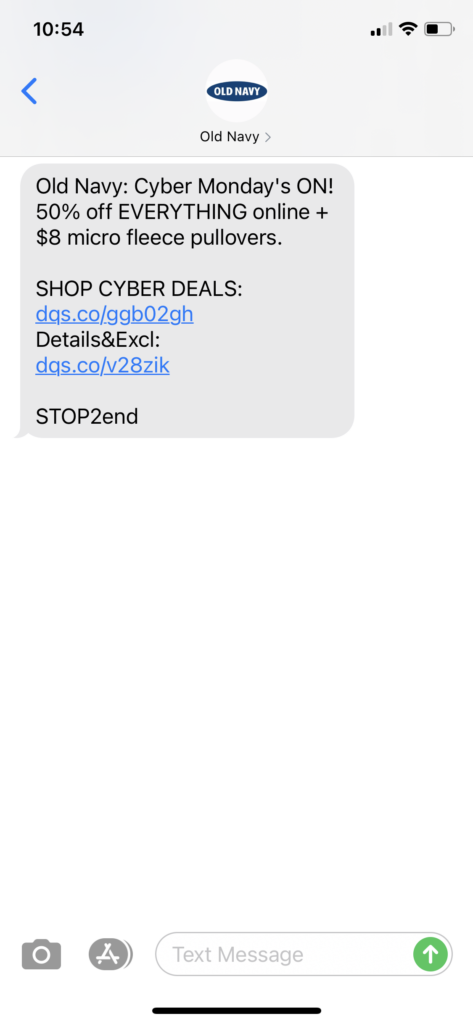 Old Navy Text Message Marketing Example - 11.30.2020.PNG