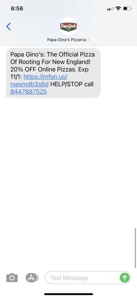 Papa Ginos Pizza Text Message Marketing Example - 11.01.2020