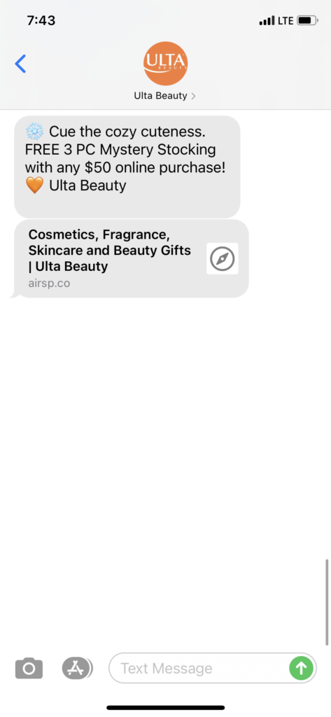Ulta Beauty Text Message Marketing Example - 11.25.2020.PNG