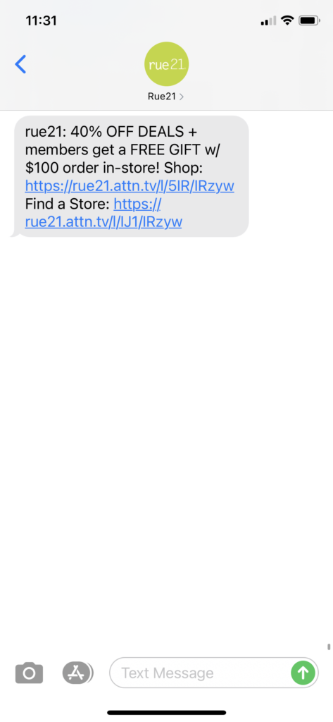 rue21 Text Message Marketing Example - 11.27.2020.PNG