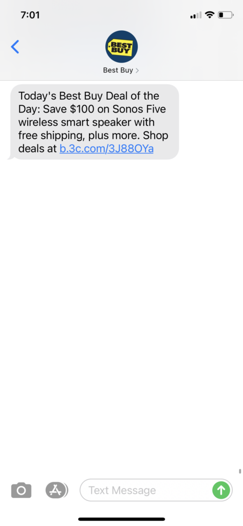 Best Buy Text Message Marketing Example - 12.112020