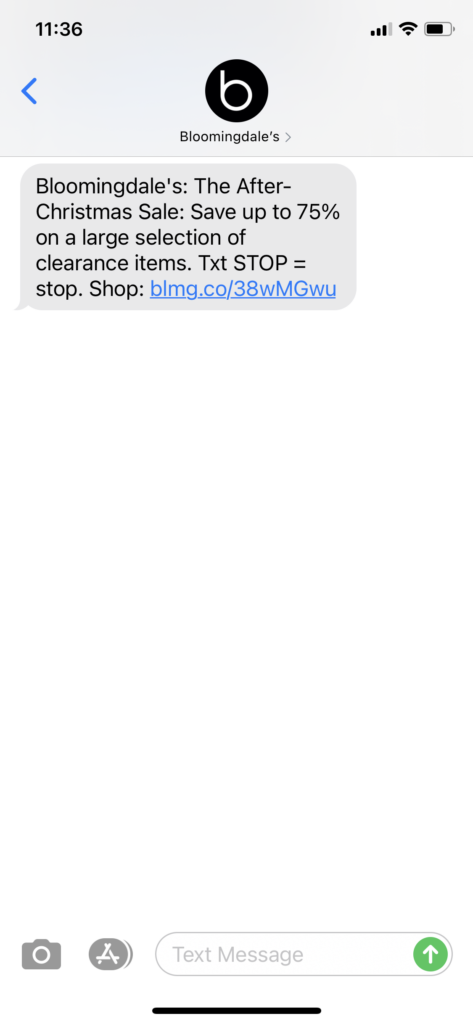Bloomingdale's Text Message Marketing Example - 12.26.2020