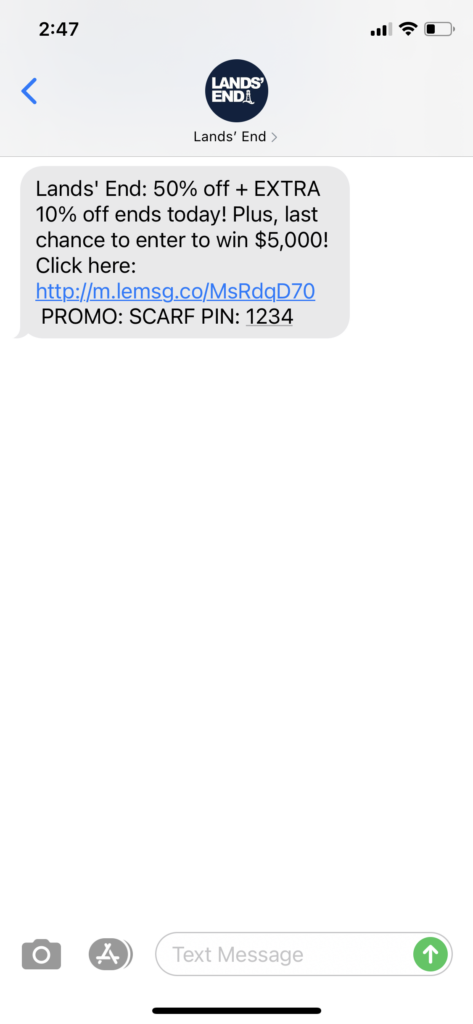 Land's End Text Message Marketing Example - 12.15.2020.PNG