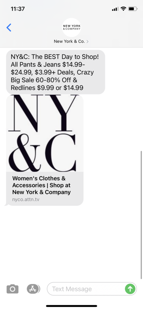 New York & Co Text Message Marketing Example - 12.26.2020