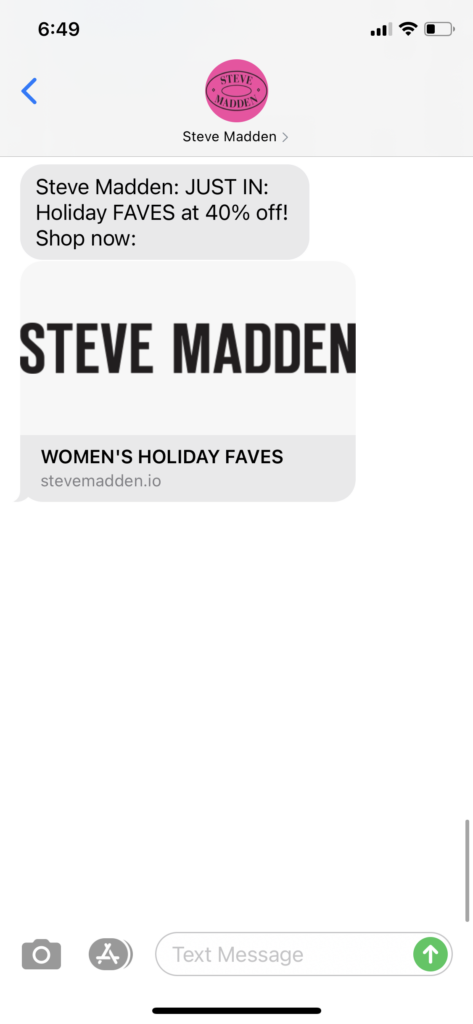 Steve Madden Text Message Marketing Example - 11.11.2020.PNG