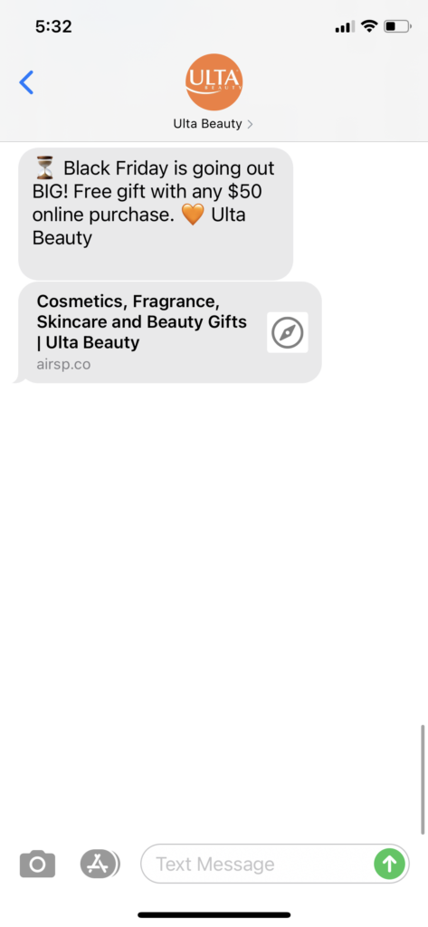 Ulta Beauty Text Message Marketing Example - 12.28.2020.PNG