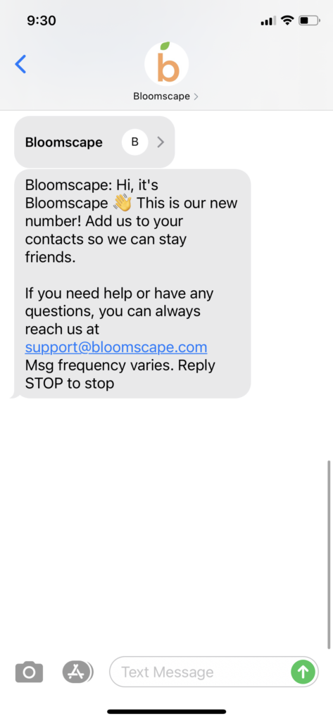 Bloomscape Text Message Marketing Example - 01.07.2021