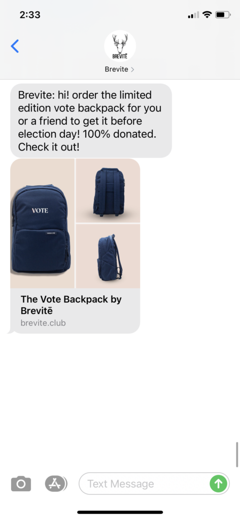 Brevite Text Message Marketing Example - 10.28.2020