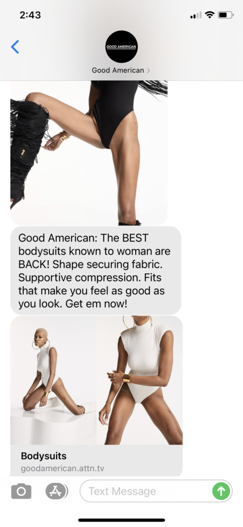 Good American Message Marketing Example - 08.13.2020