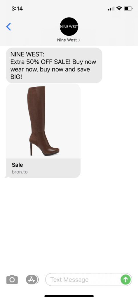 Nine West Text Message Marketing Example - 08.11.2020