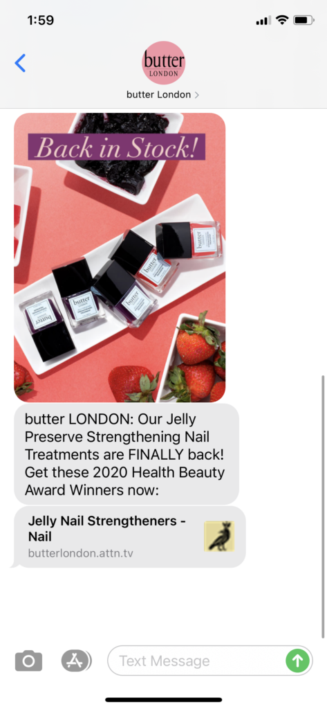 butter London Text Message Marketing Example - 11.10.2020