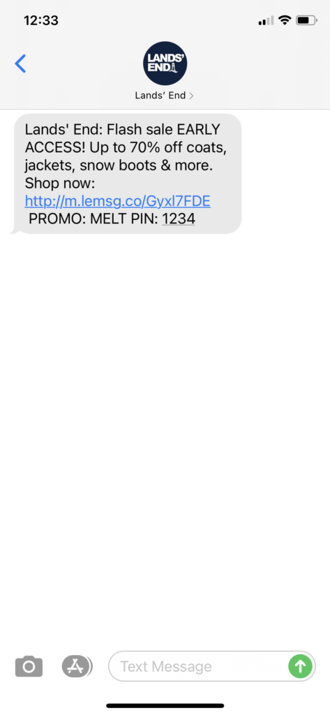 Lands' End Text Message Marketing Example - 02.02.2021