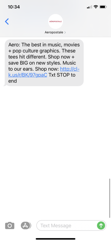 Aeropostale Text Message Marketing Example - 03.30.2021