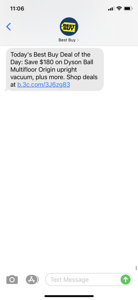 Best Buy Text Message Marketing Example - 03.25.2021