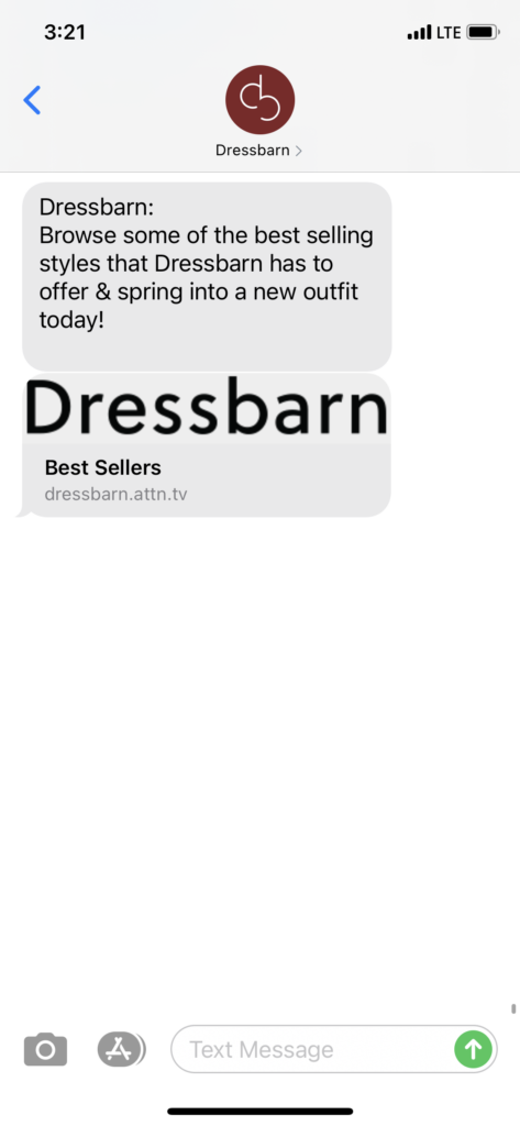 Dressbarn Text Message Marketing Example - 03.21.2021