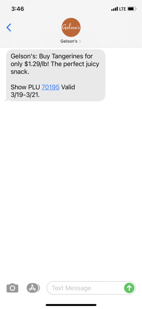 Gelson's Text Message Marketing Example - 03.19.2021
