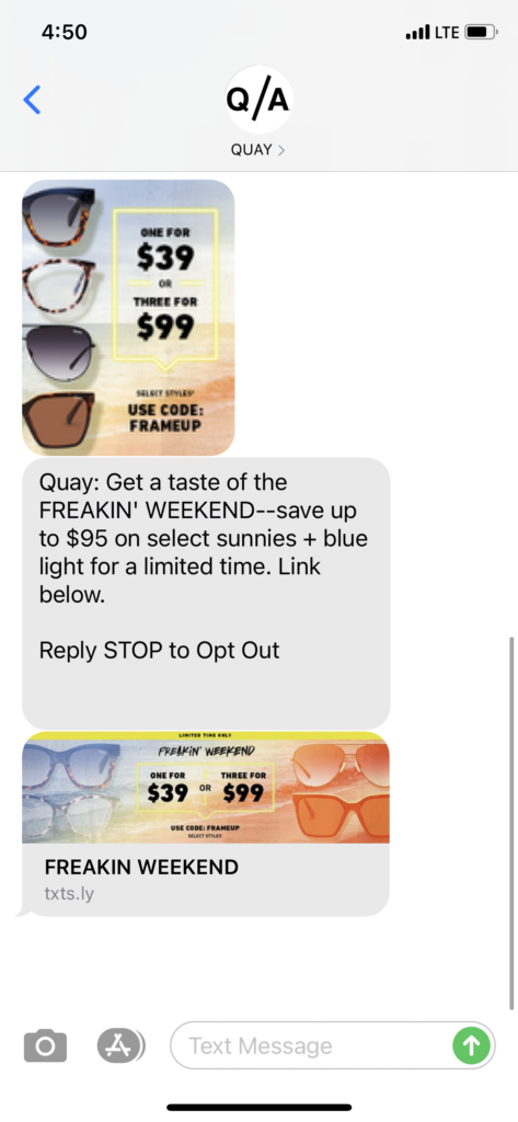 Quay Text Message Marketing Example - 03.12.2021
