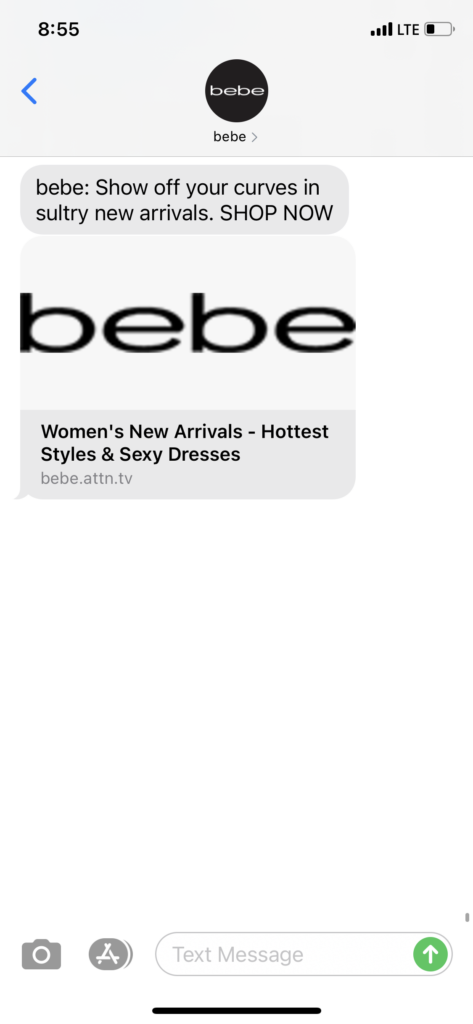 bebe Text Message Marketing Example - 03.28.2021