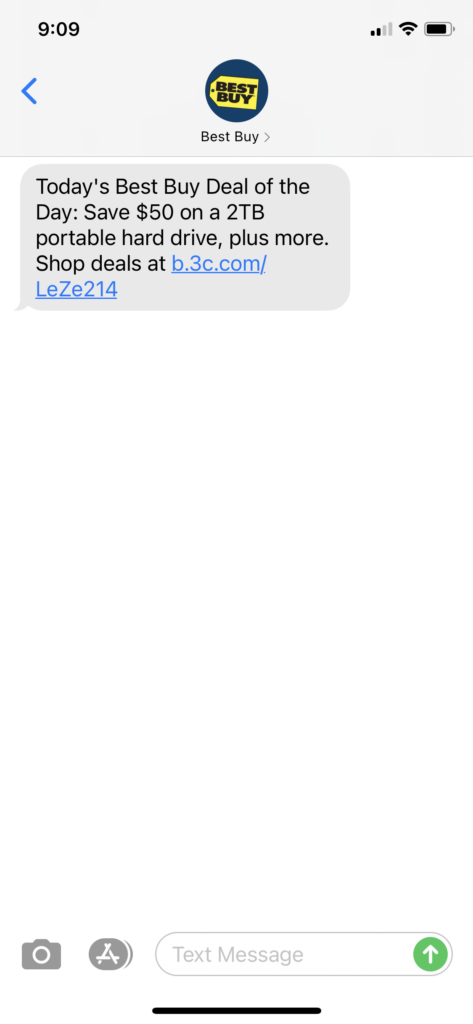 Best Buy Text Message Marketing Example - 04.13.2021
