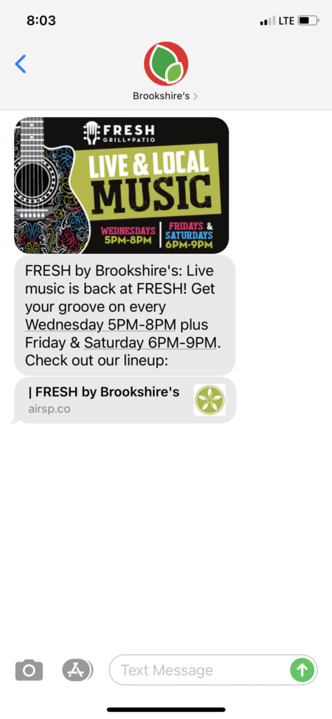 Brookshire's Text Message Marketing Example - 04.09.2021