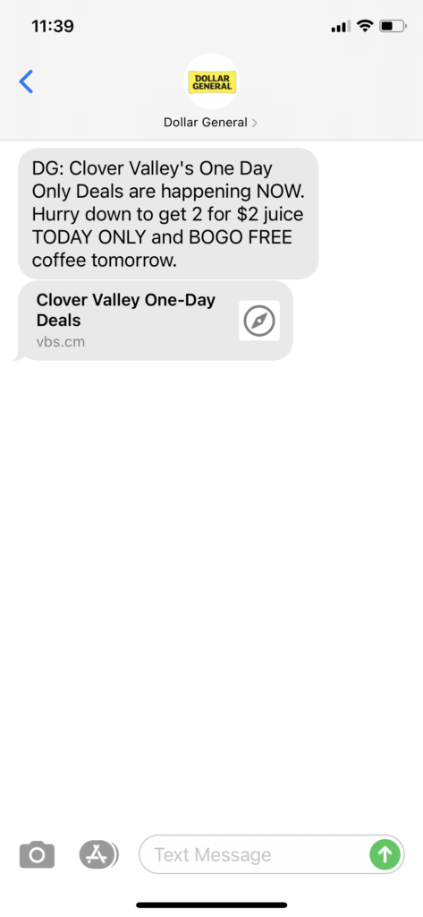 Dollar General Text Message Marketing Example - 04.22.2021