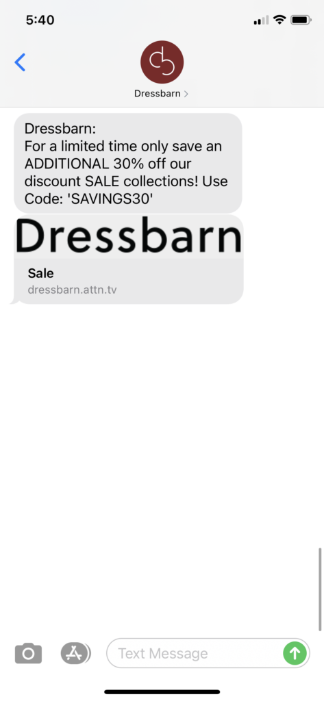 Dressbarn Text Message Marketing Example - 04.12.2021
