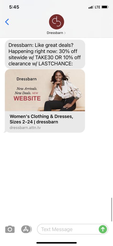 Dressbarn Text Message Marketing Example - 08.09.2020