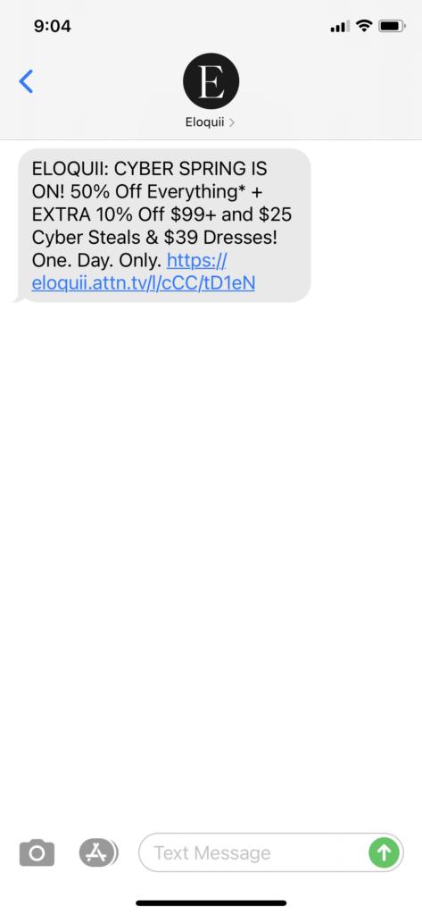 ELOQUII Text Message Marketing Example - 04.13.2021