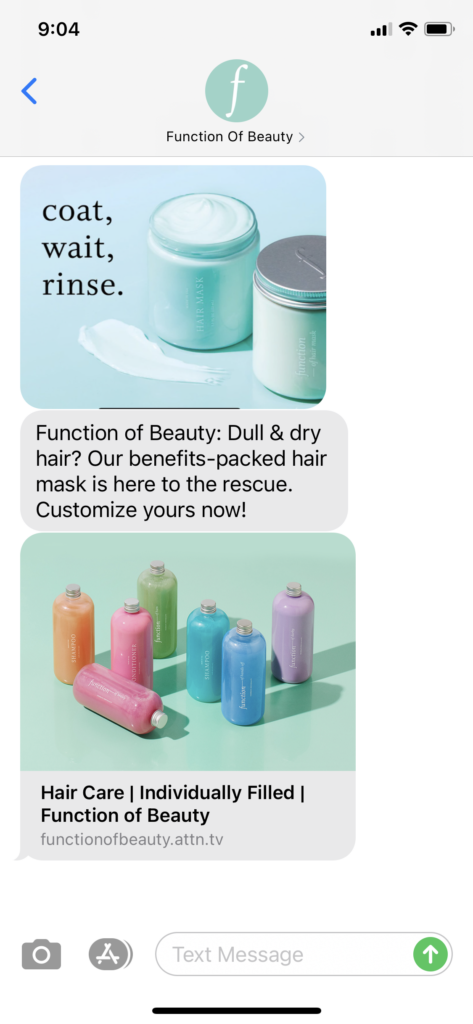 Function of Beauty Text Message Marketing Example - 04.13.2021