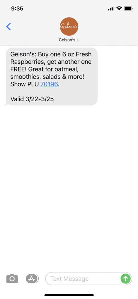 Gelson's Text Message Marketing Example - 03.22.2021