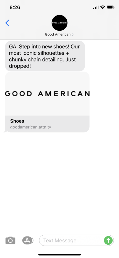Good American Text Message Marketing Example - 04.15.2021