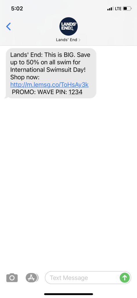 Lands' End Text Message Marketing Example - 04.20.2021