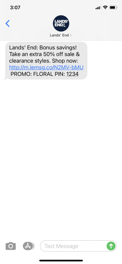 Lands' End Text Message Marketing Example - 04.25.2021
