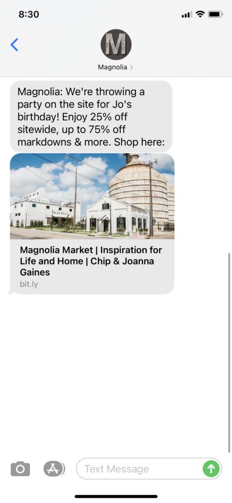 Magnolia Text Message Marketing Example - 04.15.2021