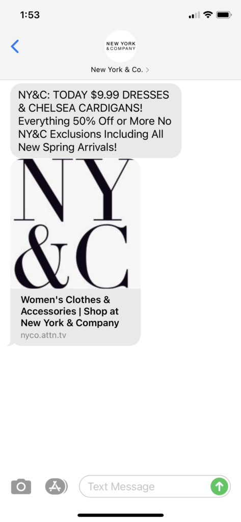 New York & Co Text Message Marketing Example - 04.02.2021