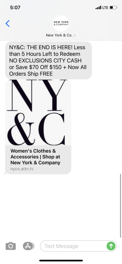 New York & Co Text Message Marketing Example - 04.19.2021